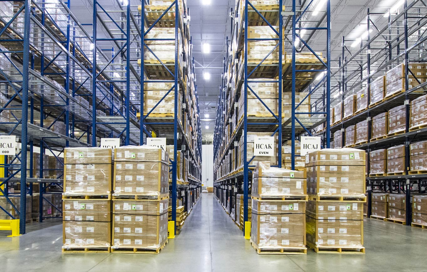 A UPS Healthcare field stocking warehouse floor