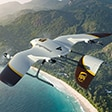 UPS drone flys high above a coastal region