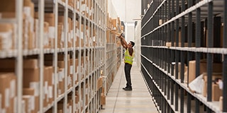 Warehouse staff tracking UPS parcels