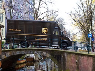 UPS delivery van on a bridge