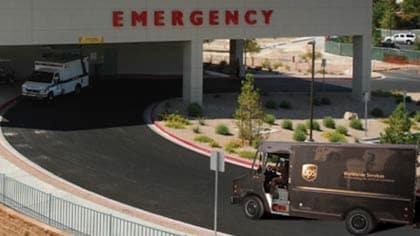 UPS Truck Assisting the Hospital Supply Chain