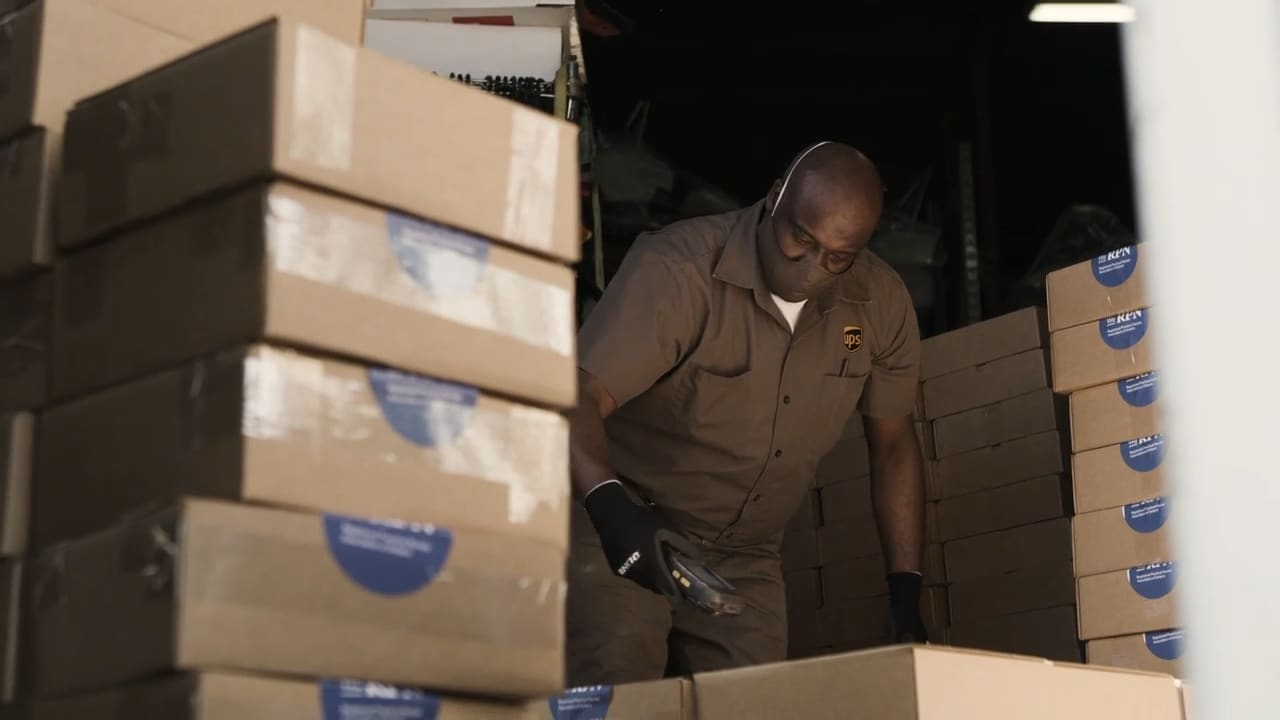 UPS Driver preparing deliveries