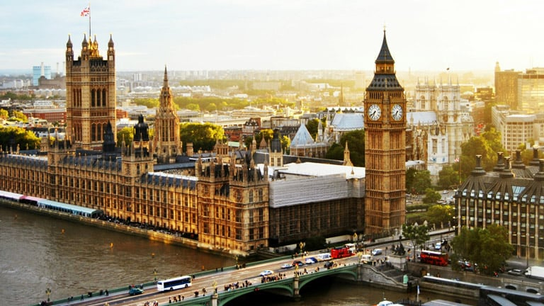 London skyline, Big Ben clock tower
