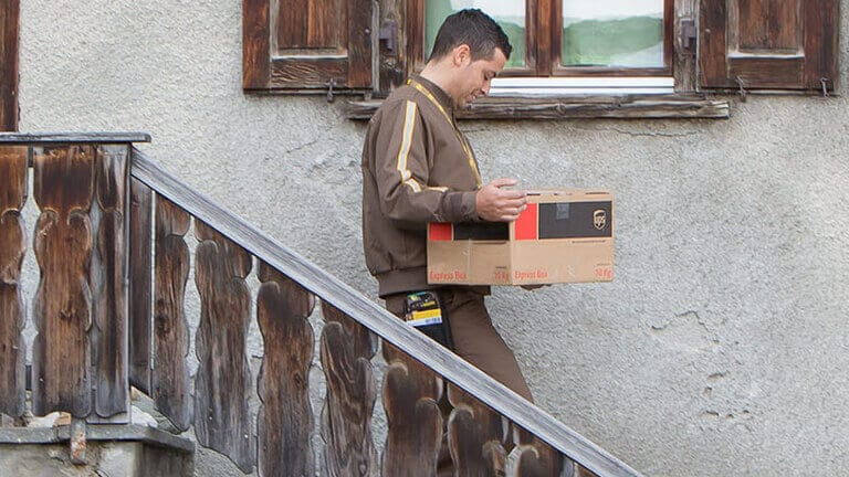 UPS employee delivering a parcel