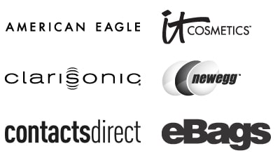 Logos for American Eagle, It Cosmetics, Clarisonic, NewEgg, Contacts Direct, and eBags