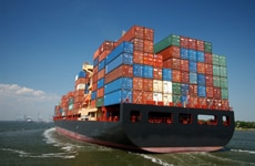 Freight containers on ship for international shipments