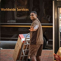 UPS driver waves while delivering packages