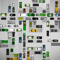 Grid of animated cars