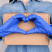 Package with a heart sign