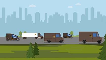 graphic of UPS vehicles
