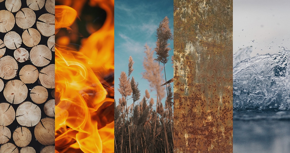wood, fire, earth, metal, water
