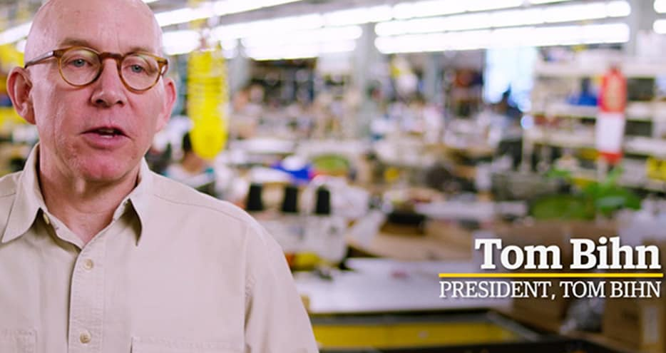 Tom Bihn, founder and president of TOM BIHN, in his Seattle factory