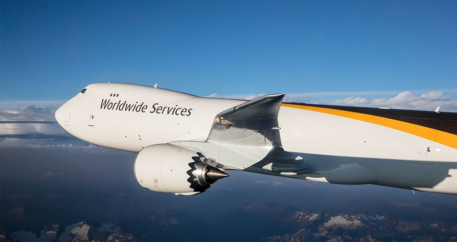 UPS plane flies with international shipments