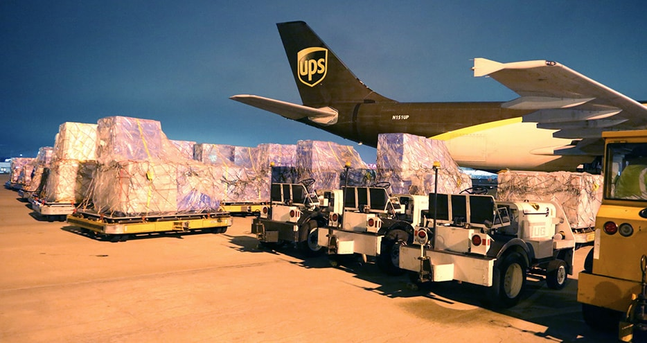 supplies loading to a UPS plane