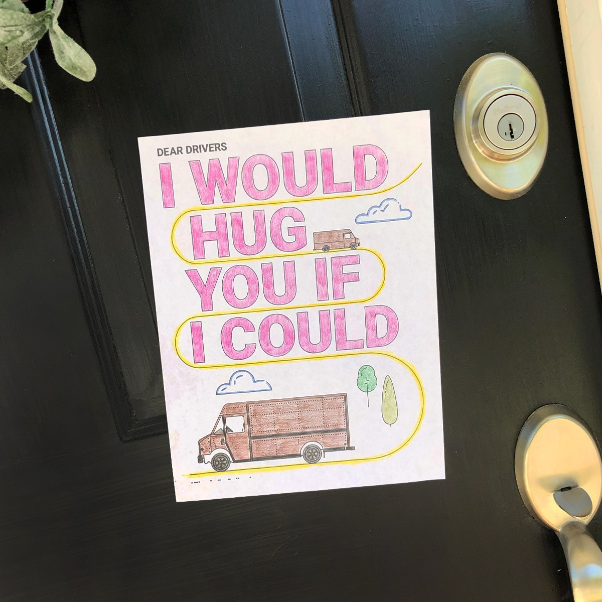 image of door with coloring page that says 'I would hug you if I could'