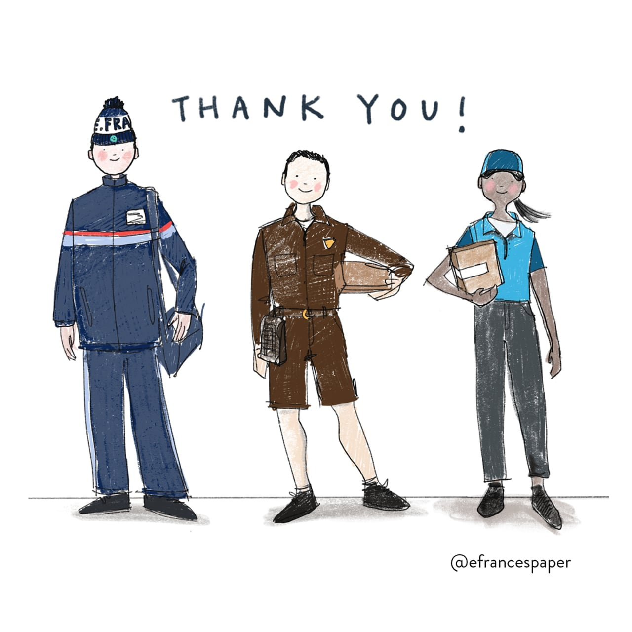 image of artwork of a mailman, a UPS driver, and an amazon driver with the words 'Thank you!' written over them