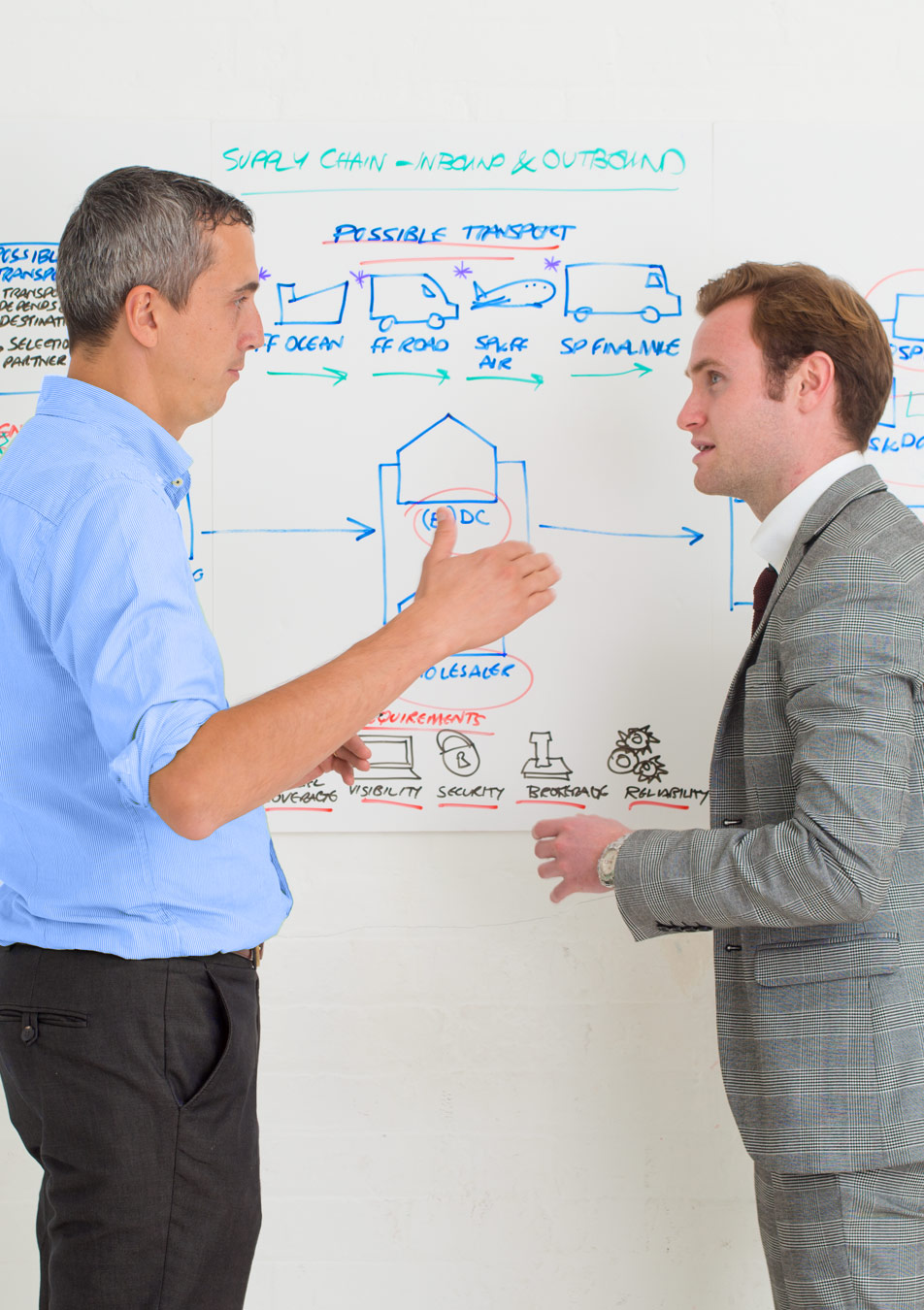 Two co-workers discussing healthcare logistics in front of a white board