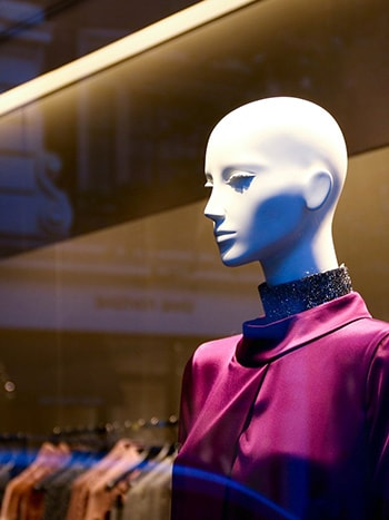 High-fashion apparel mannequin in department store