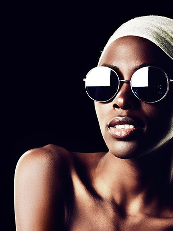 Fashion model wearing designer sunglasses