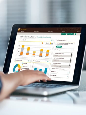 UPS Flex Global View dashboard technology on laptop""