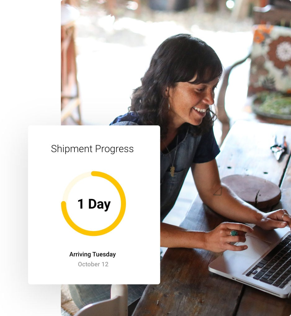Small business woman tracking inbound shipments