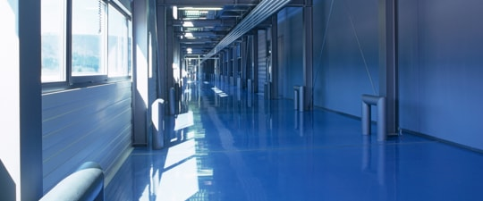 Shiny floor in modern office building