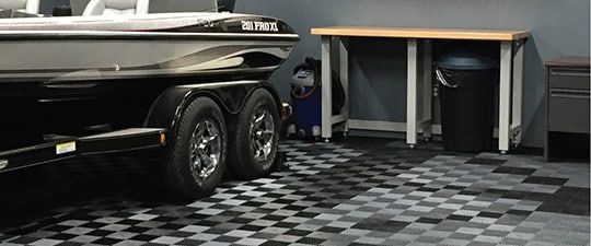 Awesome flooring in guy's dream garage