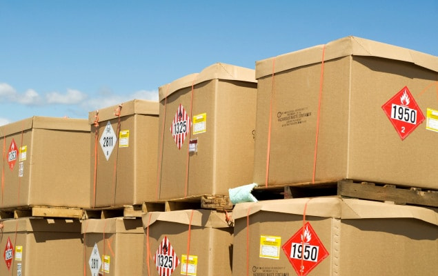 Dangerous goods shipments stacked on pallets