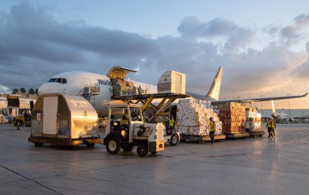 Large airfreight shipment being loaded onto UPS Browntail jet