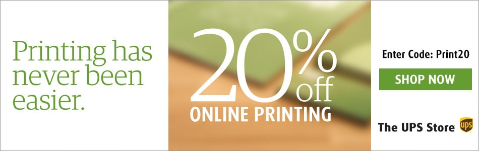 The UPS Store: 20% Off Online Printing