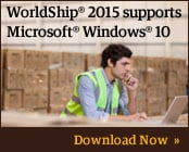 WorldShip 2015 supports Microsoft Windows 10