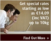 Get special rates starting as low as €14.09 (inc. VAT) up to 10kg.