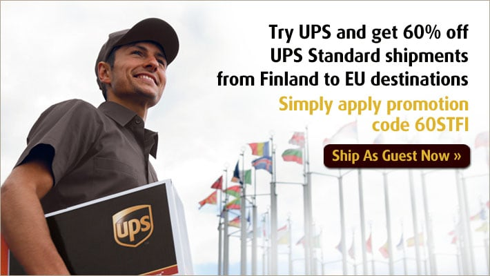 Try UPS and get 60% off UPS Standard shipments  from Finland to EU destinations