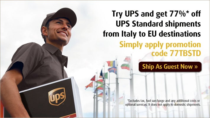 Try UPS and get 77%* off UPS Standard shipments from Italy to EU destinations