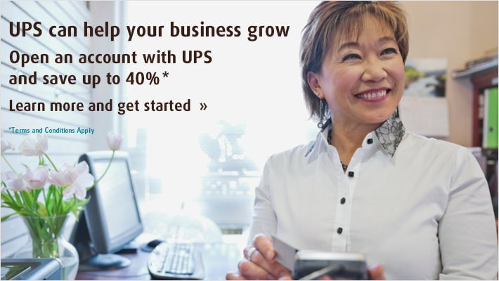 Open an account with UPS and save up to 35%*