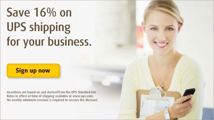 Save 16% on UPS shipping for your business.
