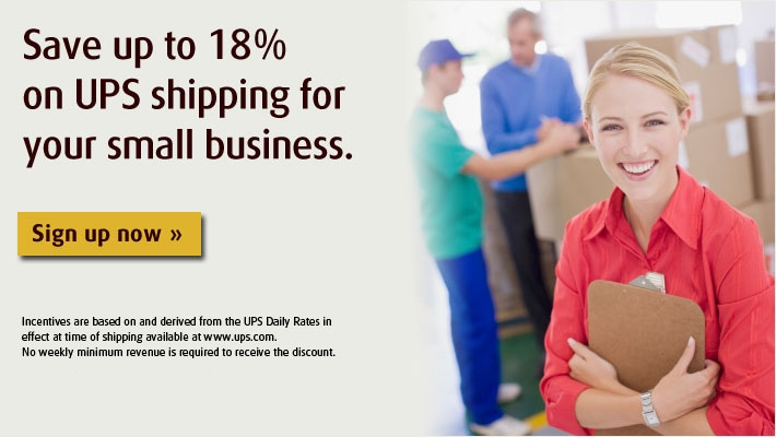 Save 18% on UPS shipping for your small business.