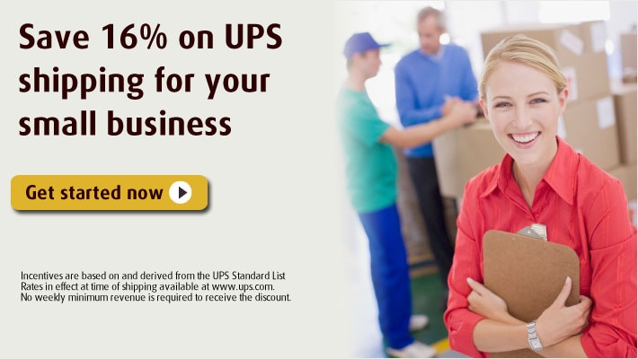 Save 16% on UPS shipping for your small business.