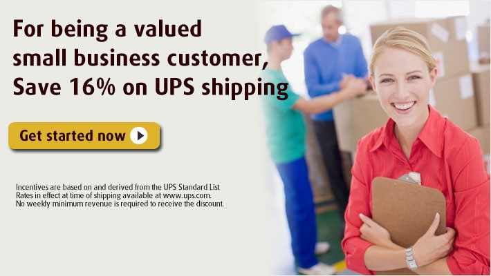 For being a valued small business customer, Save 16% on UPS shipping